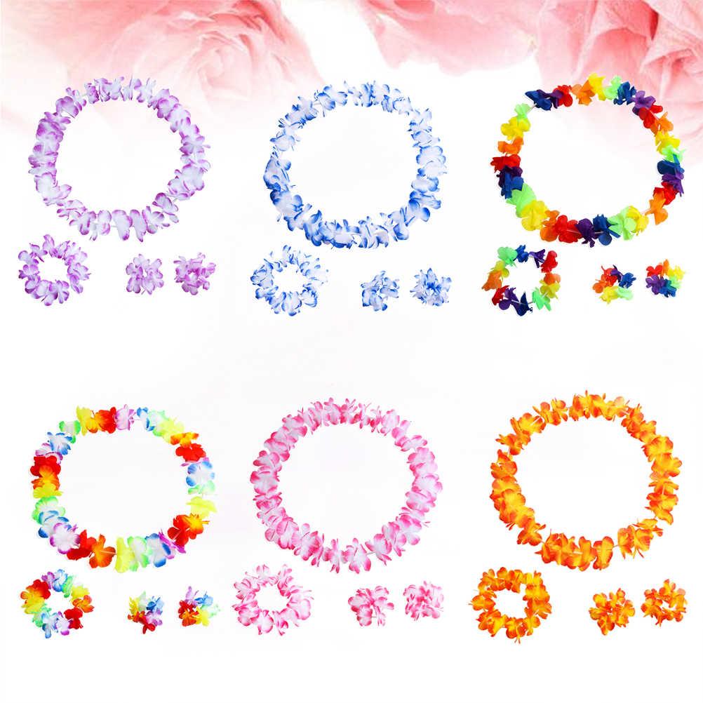 6 компл./упак. 4 шт./компл. Гавайская гирлянда цветов Цепочки и ожерелья богато Цветной красивый искусственный венок-гирлянда Цепочки и ожерелья