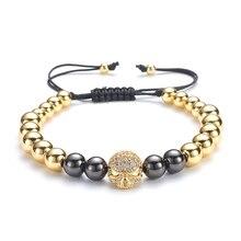 Trendy 8mm Copper Beads Strand Bracelet Micro Pave CZ Ball Men Buddha Jewelry gift