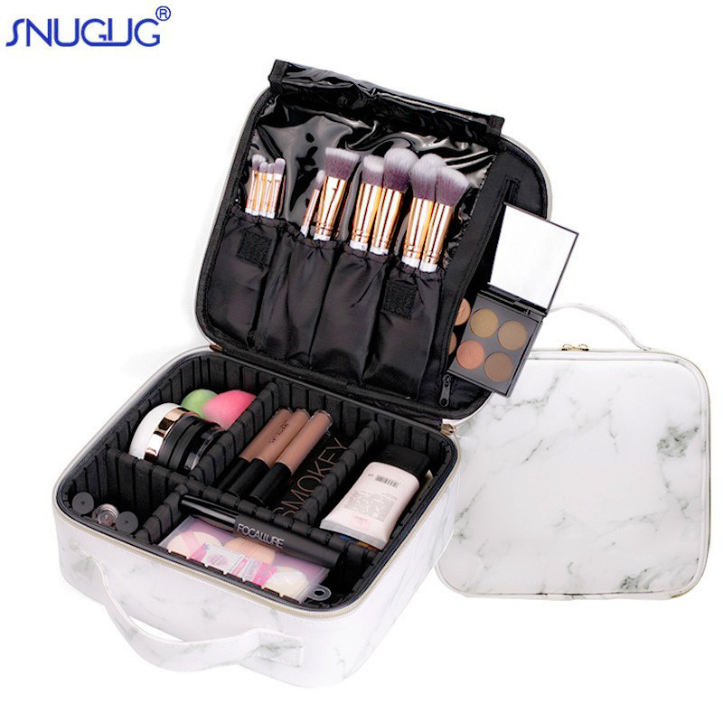 New Female Fashion Professional Makeup Suitcase For Cosmetics Case Marble Women Big Cosmetic Bag Leather For Manicure Brush Case