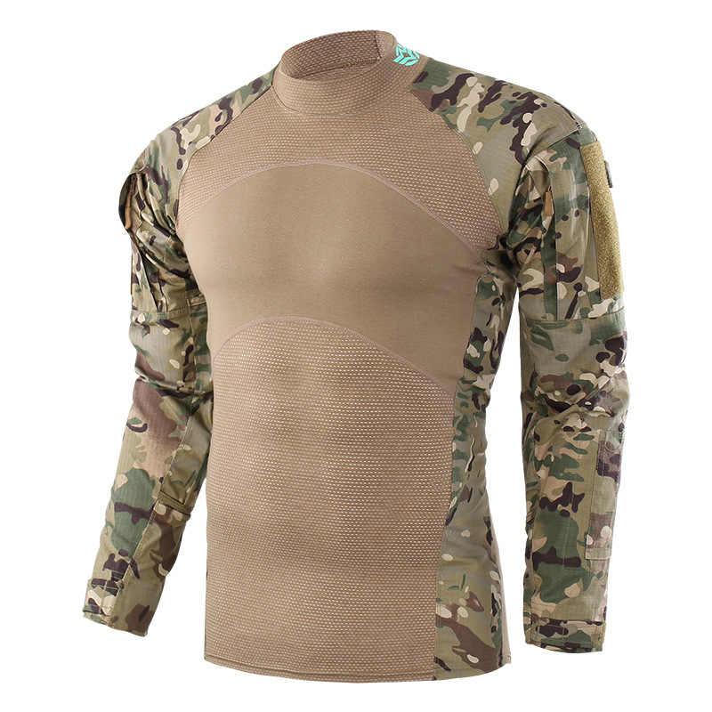 Męskie Paintball koszulki armii walki taktyczne Airsoft koszula wojskowa mężczyźni z długim rękawem żaba T-Shirt łuk na zewnątrz fotografowania polowania koszulki
