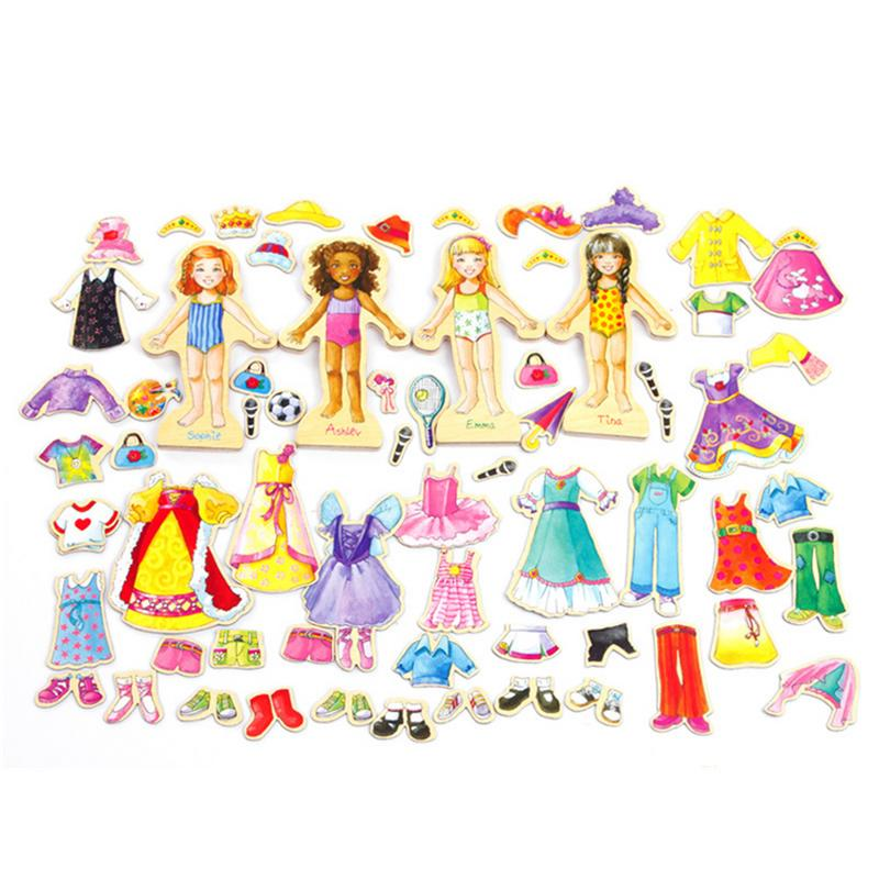 Wooden Cute Girl Magnetic Dress Clothes Dress-Up Dolls Play Change Clothes Game Toys Birthday Gift image