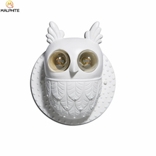 Modern White Hooters LED Wall Lamp Bedroom Bedside Lights Owl Fixtures Restaurant Deco Lighting Luminaires Hanging