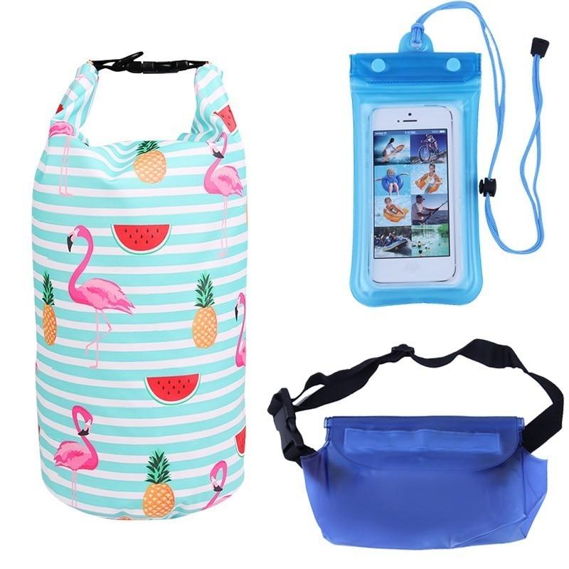 10L Waterproof Bag Set Kayak Dry Bag With Waterproof Phone Pouch Waist Bag Raft Canoe River Trekking Women Summer Swimming Bags