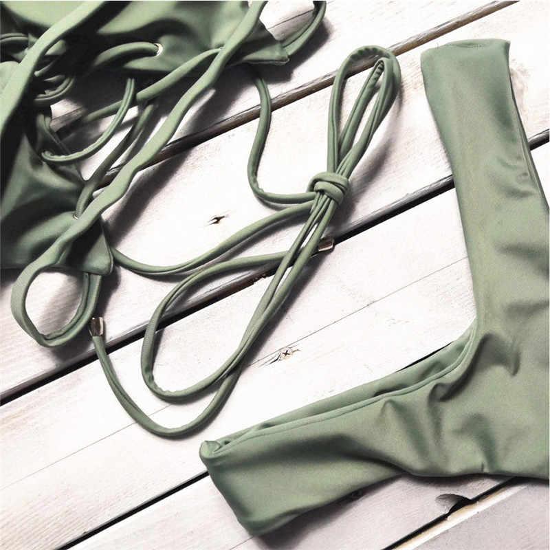 Femmes Bandage à lacets maillots De Bain offre spéciale Styles d'été push-up rembourré soutien-gorge Bikini ensemble Maillot De Bain dame Maillot De Bain Femme