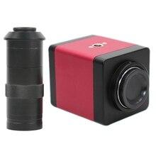 버전 14mp hdmi vga hd 산업 60f/s 비디오 현미경 카메라 8 ~ 130x 줌 c 마운트 렌즈 + 원격 제어 (eu 플러그)