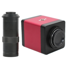Version 14mp Hdmi Vga Hd industrie 60f/S caméra de Microscope vidéo 8 ~ 130x Zoom c mount objectif + télécommande (prise EU)