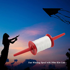 RUNACC Polyester Kite Spool Fast Kite Winder Portable Kites Reel with 492.1ft Long Kite String, Red