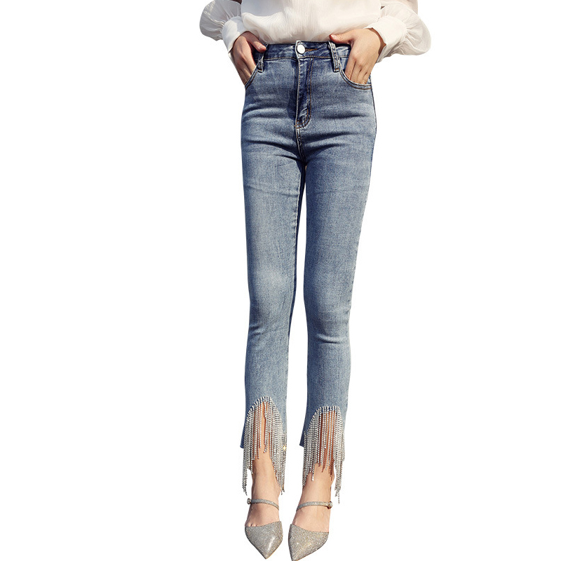 Women Jeans With Beads Tassel Rhinestones Jeans Skinny High Waist  Stretchy Jeans For Women Petite Ankle Elastic Denim Pants
