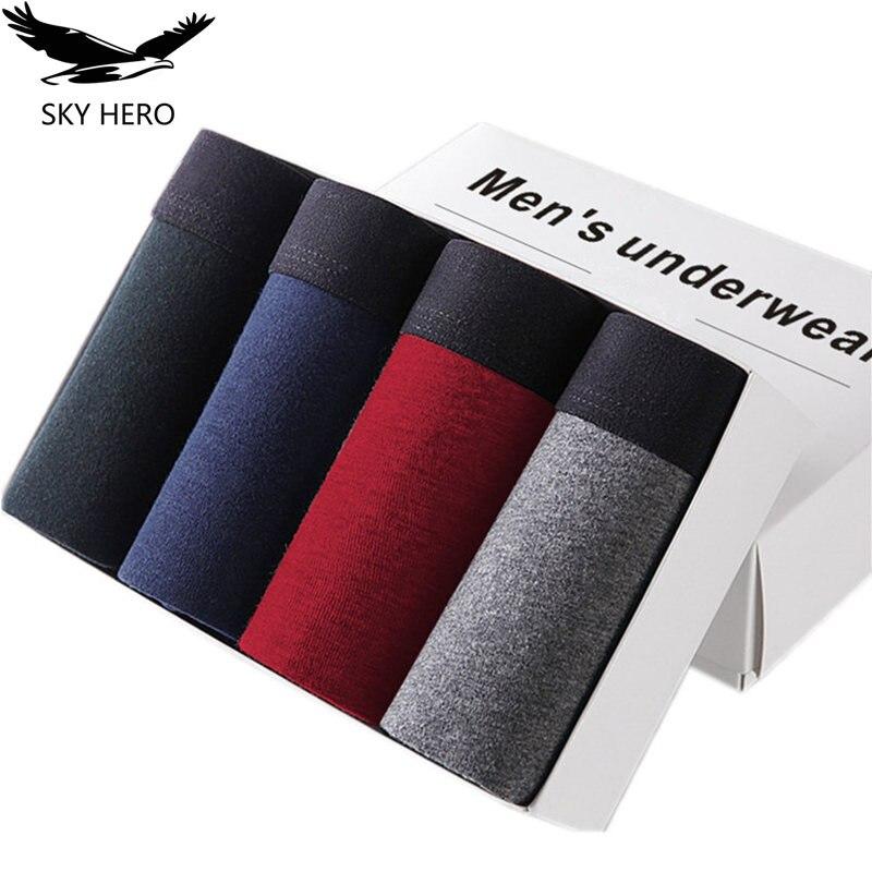4pcs/lot SKYHERO Male Panties Cotton Men's Underwear Boxers Breathable Man Boxer Solid Underpants Comfortable Brand Shorts Jdren