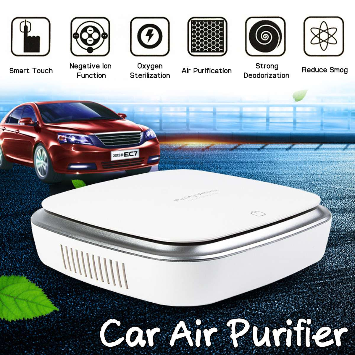 PM2.5 Car Air Purifier Portable Travel Auto Negative Ion Air Cleaner with Adapter Sedan Air Freshener Remove Odor Smell Bacteria