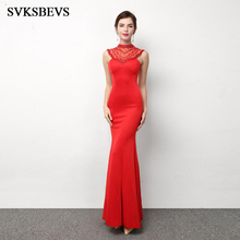 SVKSBEVS 2019 Luxury Crystal Halter Beading Mermaid Long Dresses Elegant Illusion Zipper Backless Party Maxi Dress