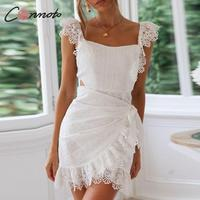 Conmoto White Lace Backless Summer Dress 2019 Women Sexy Elegant Bodycon Party Dress Embroidery Hollow out Short Mini Dress