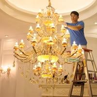 빌라 홀 골드 샹들리에 led candelabro 호텔 샹들리에 크리스탈 조명기구 빌라 성 교회 lamparas led lustre
