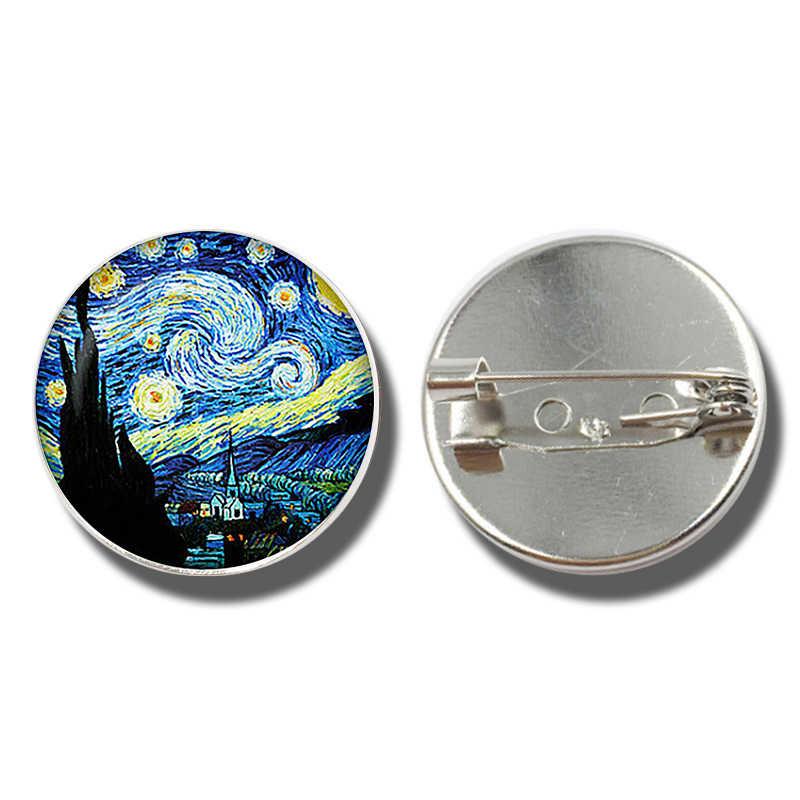 Ван Гог художественные картины Звездная ночь Подсолнух брошь для мужчин и женщин значок стеклянный кабошонный купол ювелирные изделия школьная сумка броши булавки подарок