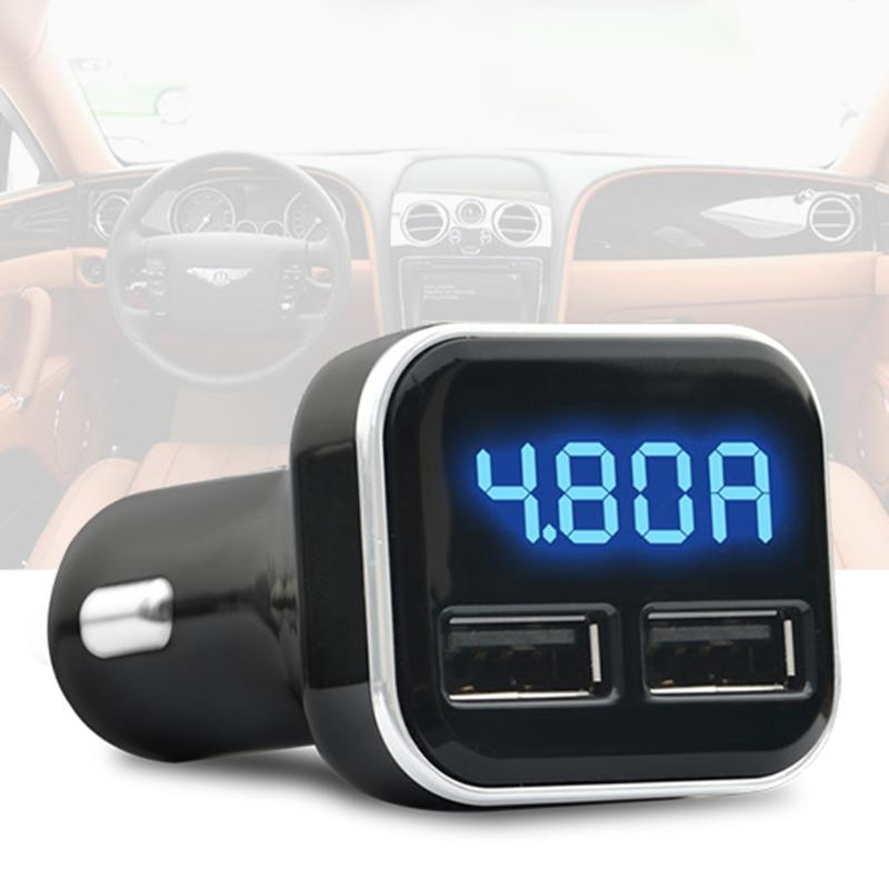 24W 4.8A Dual USB Car-charger Auto LED Display Fast Charging Adapter with Current Voltage Meter Gauge Function Auto Accessories24W 4.8A Dual USB Car-charger Auto LED Display Fast Charging Adapter with Current Voltage Meter Gauge Function Auto Accessories