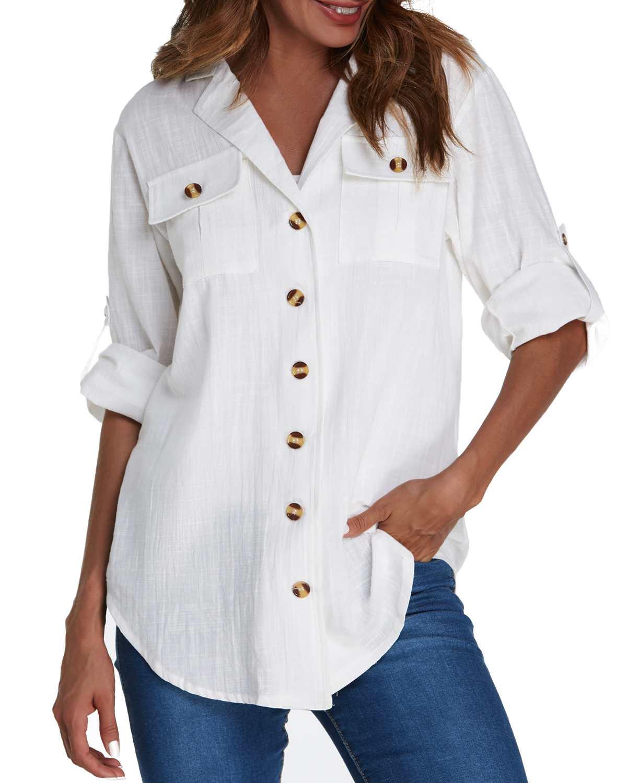 Women Casual Solid Blouse Shirts Elegant Turn-Down Collar Lapel 3/4 Sleeve Pockets Buttons Asymmetrical Hem Top Blusas Femininas