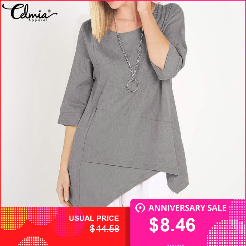 Celmia 2019 Summer Tops Women Crew Neck Half Sleeve Blouses Asymmetrical Vintage Blusas Fe