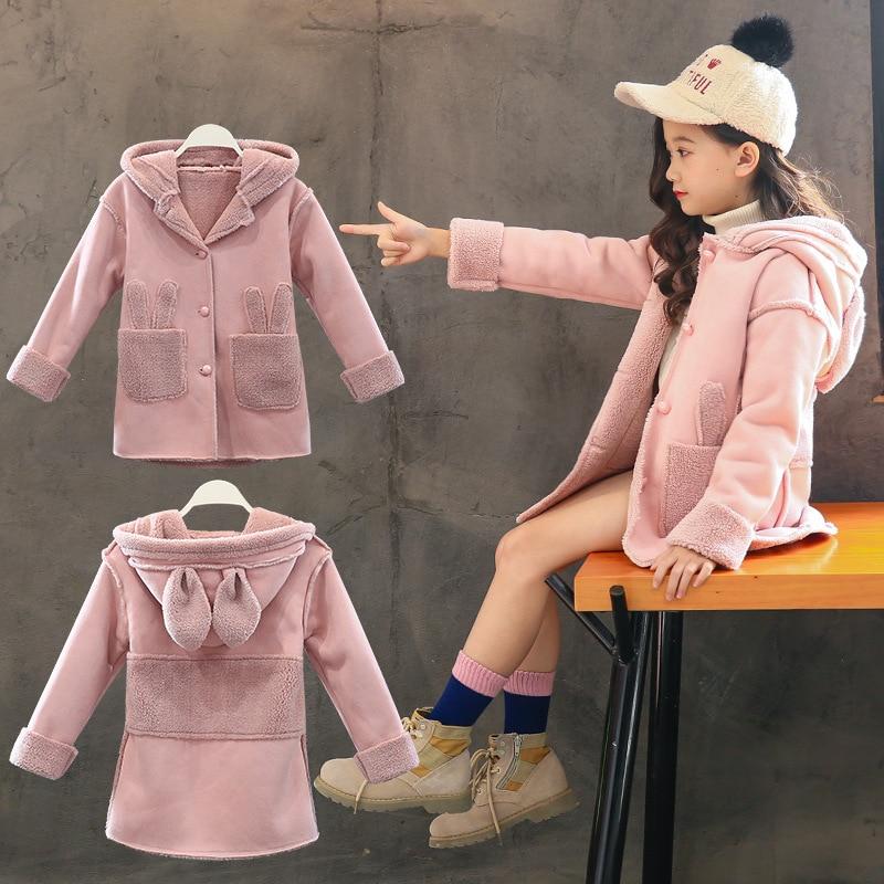 Baby Girls Coat Autumn and Winter 2018 New Korean Version of The Big Boy Hooded Cartoon Rabbit Ears Plus Velvet Thick Suede Coat