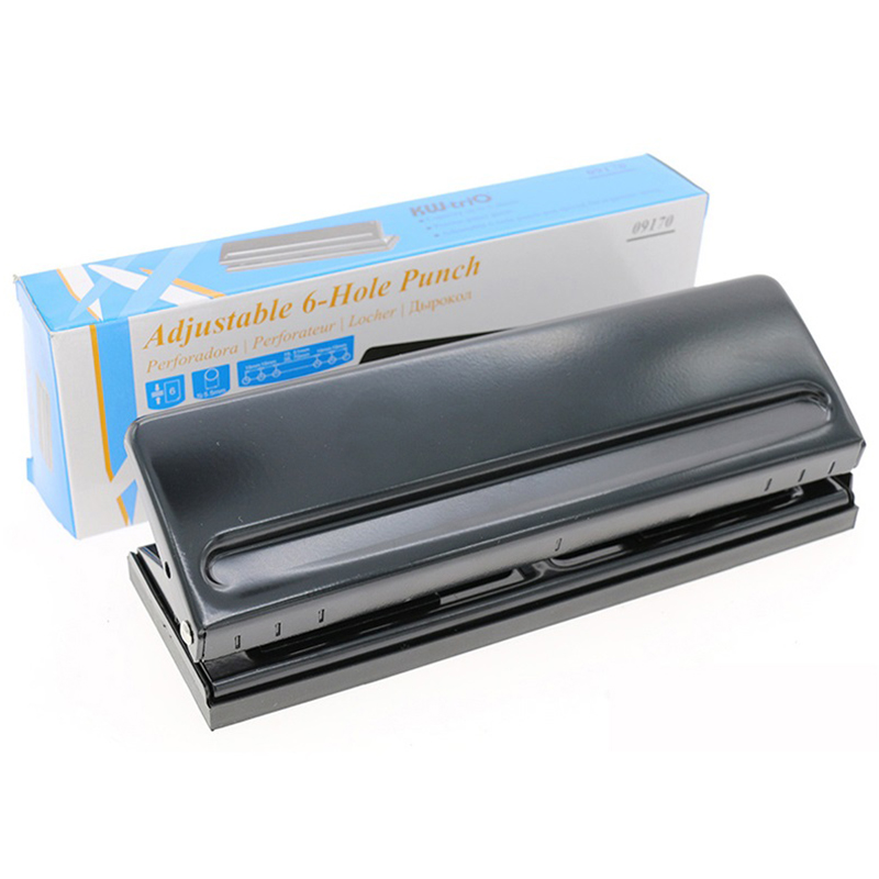 Image 5 - 6 Holes Paper Puncher, Adjustable Stainless Steel Desktop Hole Punch, 6 Sheets Capacities-in Hole Punch from Office & School Supplies