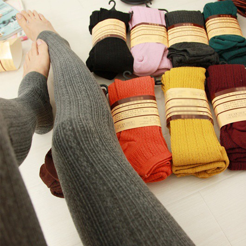 2019 Hot Warm Leggings Women's Winter Thick Leggins Silm Causal Stretch Knitted Pants Solid Winter Thermal Leggings Woman