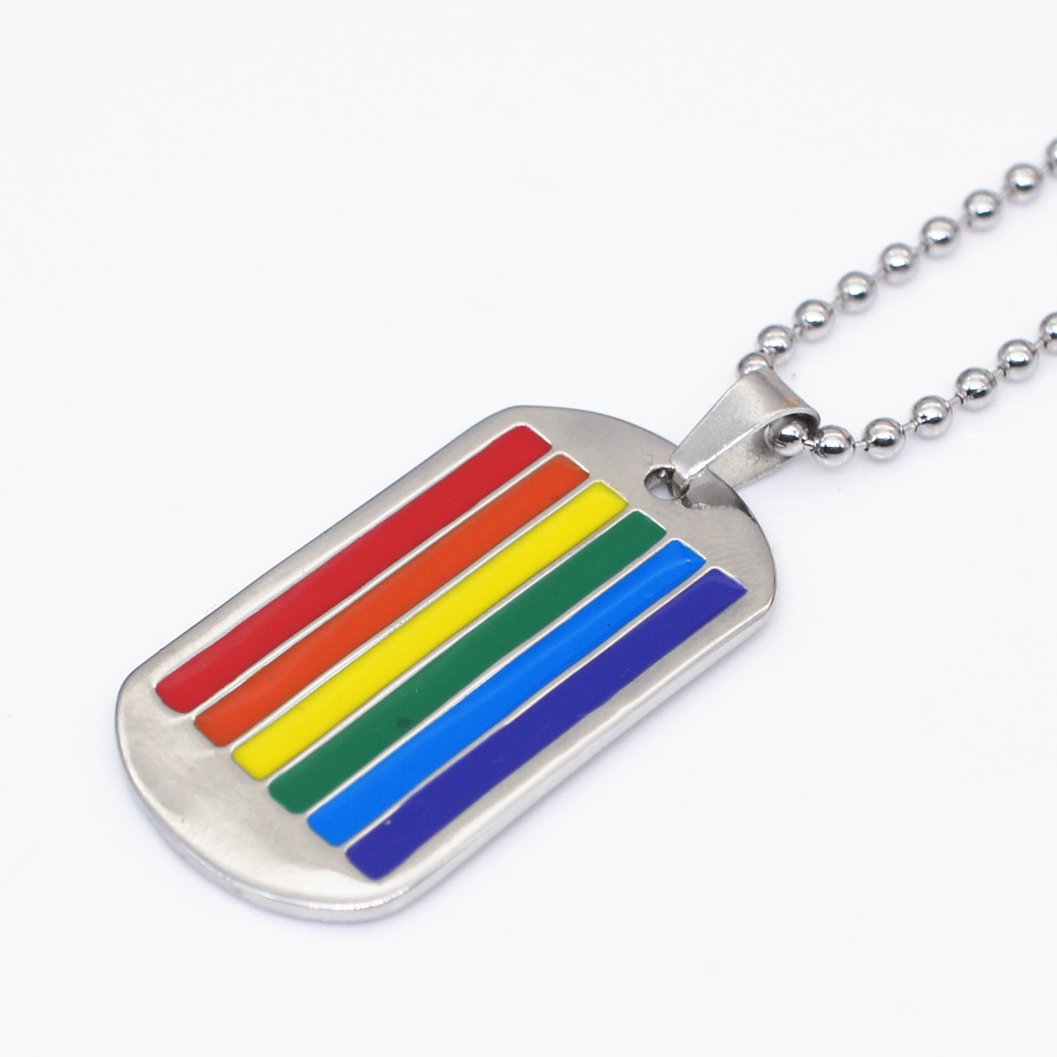 Rainbow LGBT <font><b>Dog</b></font> Tag Gay and Lesbian Pride Pendant Stainless Steel Long Chain Necklace for Man Women Fashion Jewelry image