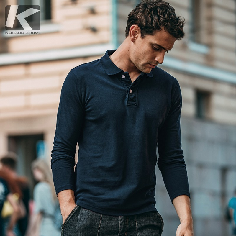 Autumn Men   Polo   Shirt 100% Cotton Solid Blue Black For Man Fashion Long Sleeve Slim Fit Clothing 2018 New Male Wear Tops 574