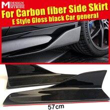 For Infiniti Q60 Side Skirt Body Kit Carbon Fiber Gloss Black Car Skirts Spoiler E-Style Splitters