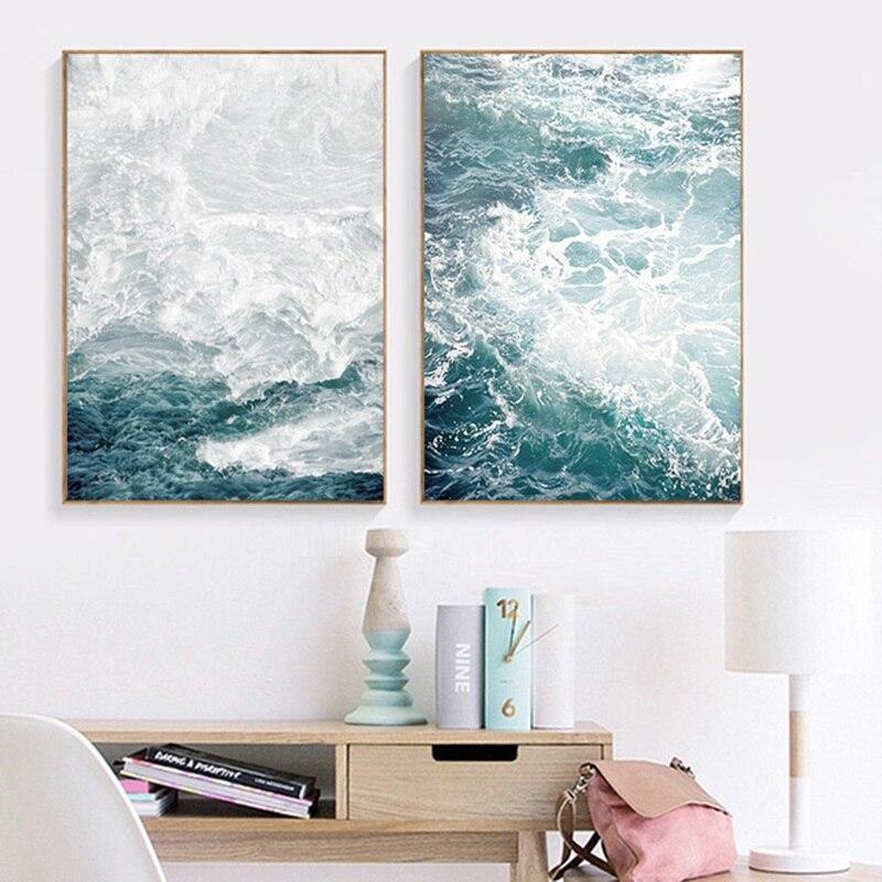 Океанические волнистые пейзажи, парусиновая живопись, морской пейзаж, скандинавские постеры и принты, украшение для дома, гостиная, настенные художественные картины без рамки|Рисование и каллиграфия| | - AliExpress