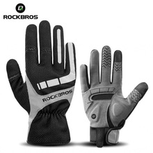 цена на ROCKBROS Winter Cycling Gloves Gel Padded Thermal Full Finger Bike Bicycle Gloves Touch Screen Windproof Ski Riding Sports Glove