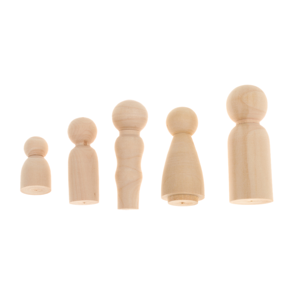Set of 200pcs Wooden Peg Dolls People Natural Wood Family Members DIY Crafts Cake Topper Ornaments