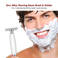 Men Shaving Kit Zinc Alloy Shaving Razor Brush Holder Stand 3 In 1 White Handle Shaving Tool Kit Razor Shaving Brush Set