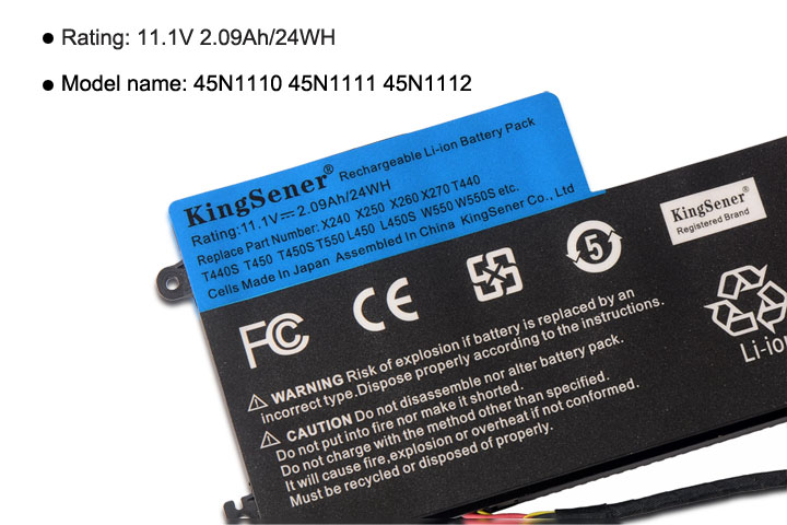 11.1 V 24WH KingSener Nouvelle Batterie Interne pour Lenovo ThinkPad T440 T440S T450 T450S X240 X250 X260 X270 45N1110 45N1111 45N1112 - 5
