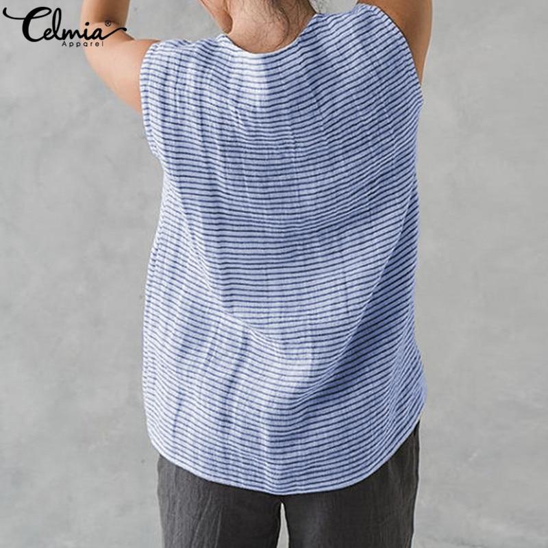 Plus Size Womens Cotton Striped Tunic Tops Linen T Shirt Summer Beach Mini Dress