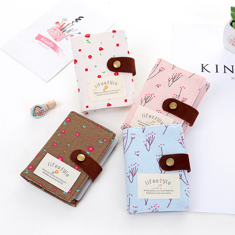 1pc 20 Slot Floral Credit Card Holder ID Business Card Wallet Cash Holder Canvas Credit Card Holder Bag