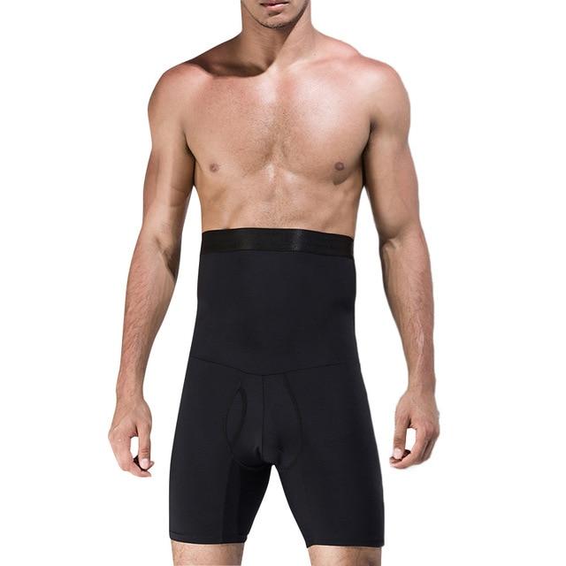 Men High Waist Abdomen Control Panties Elastic Slimming Big Belly Open Crotch Body Shaper Tummy Trimmer Male Stomach Boyshort 5