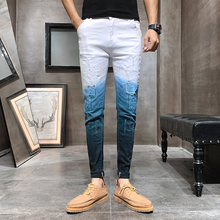 3e891c471a Verano de 2019 vaqueros Color degradado Streetwear de los hombres  pantalones vaqueros Slim Fit Casual Hombre Vaqueros