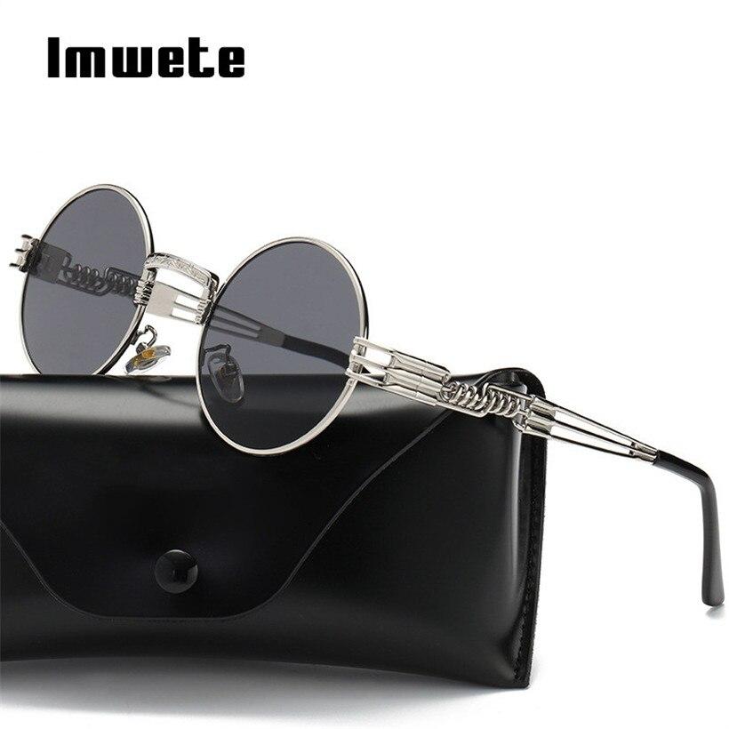 c3c7740b8 Imwete Clássico Gótico Steampunk Óculos De Sol Dos Homens Das Mulheres  Envoltório de Metal Óculos Redondos Marca Designer Shades óculos de Sol  UV400 ...