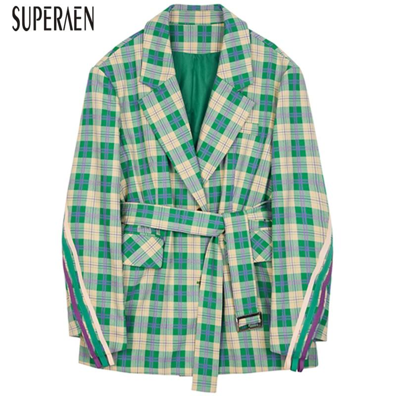 SuperAen Fashion Suit Jacket Female Wild Cotton Fashion Casual Women Jacket 2019 Spring New Plaid Women