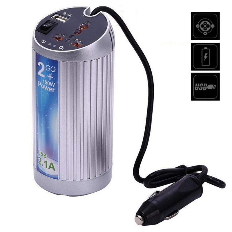Professionelle Silber Aluminium Alloy Power Inverter 12 v Zu 220 v Auto Sauerstoff Bar Inverter 150 watt USB5V/2100MA