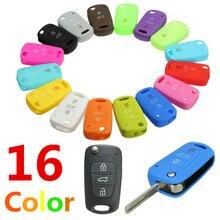 Новинка, 16 цветов, силиконовый, 3 кнопки дистанционного управления, флип-чехол для ключей, чехол для Kia/Sportage/Soul/Rio/cee 'd