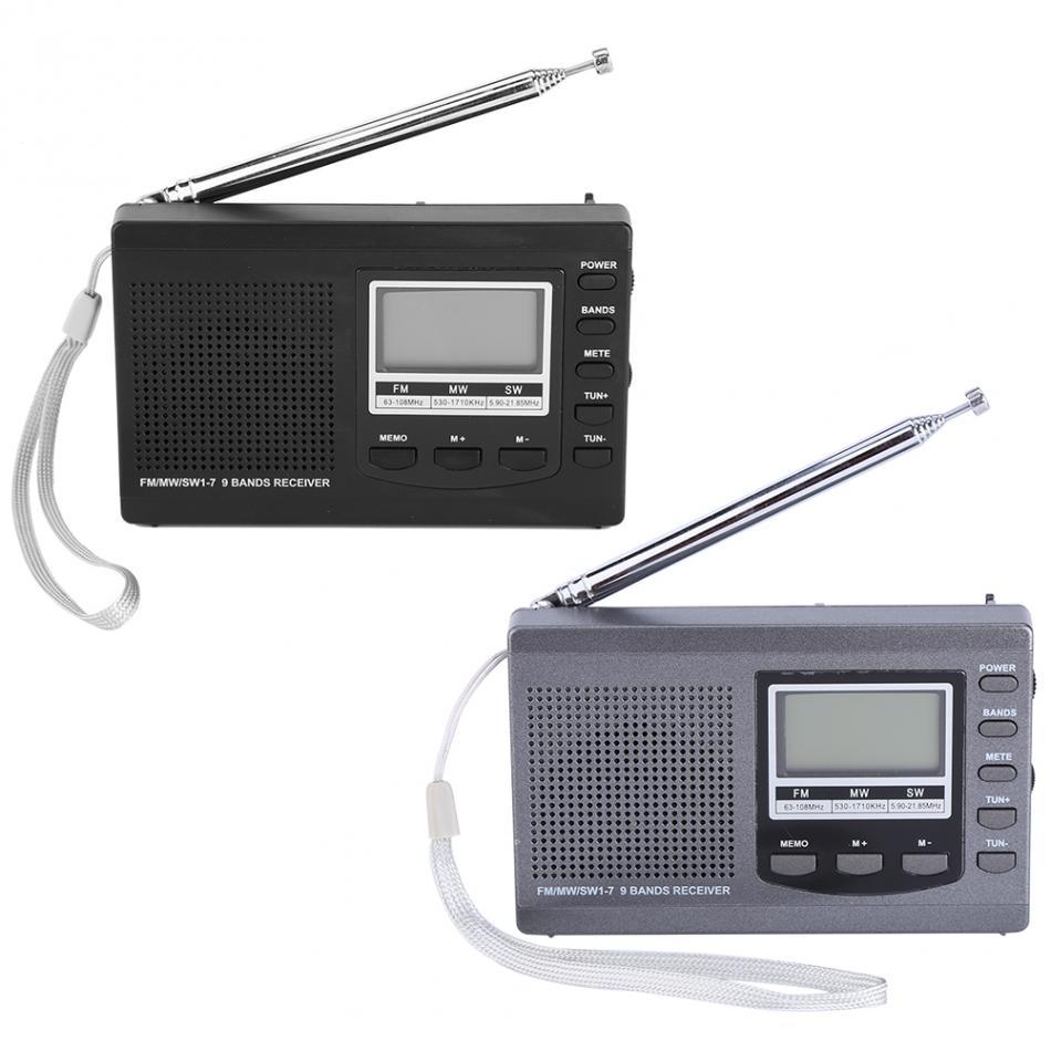 LEORY Portable Radio FM MW SW Digital Alarm Clock FM Radio Receiver Mini Radio Handheld Built in Speaker