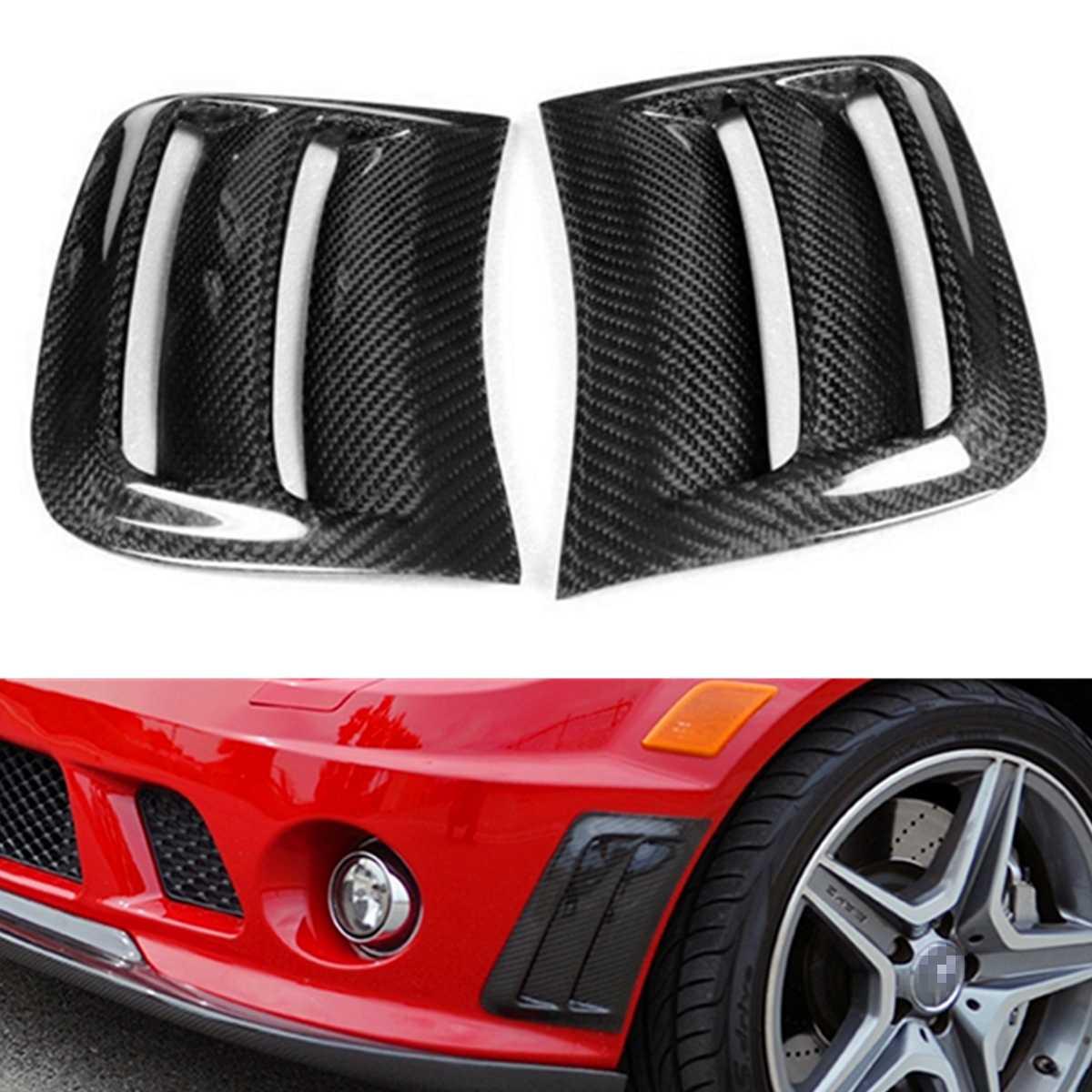 1 пара автомобиля углеродного волокна Air вентиляционный канал стороны крышки воздушной вставкой Vent Обложка Накладка Vent Стикеры для Benz W204 C63