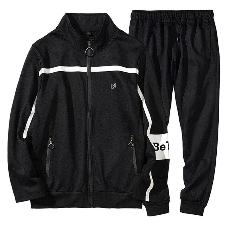 Stand Sweat-Shirts Col Hommes Hoodies Lettre Printemps Automne Hip Hop Hommes Streetwear Casual Survêtement Veste + Pantalon Costume Set UE taille