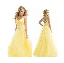 a8c18a18b Nuevo estilo largo de fiesta de dama de honor de las mujeres vestido Formal  bola boda Prom vestido de fiesta amarillo Color de V..