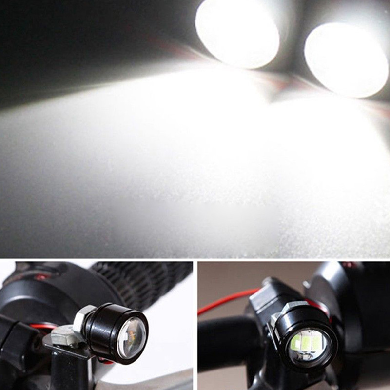 Image 3 - 2pcs 120LM Motorcycle White LED Spotlight Headlight Driving Light Fog Lamp 21.5*20*47mm moto accessories parts-in Electromobile from Automobiles & Motorcycles