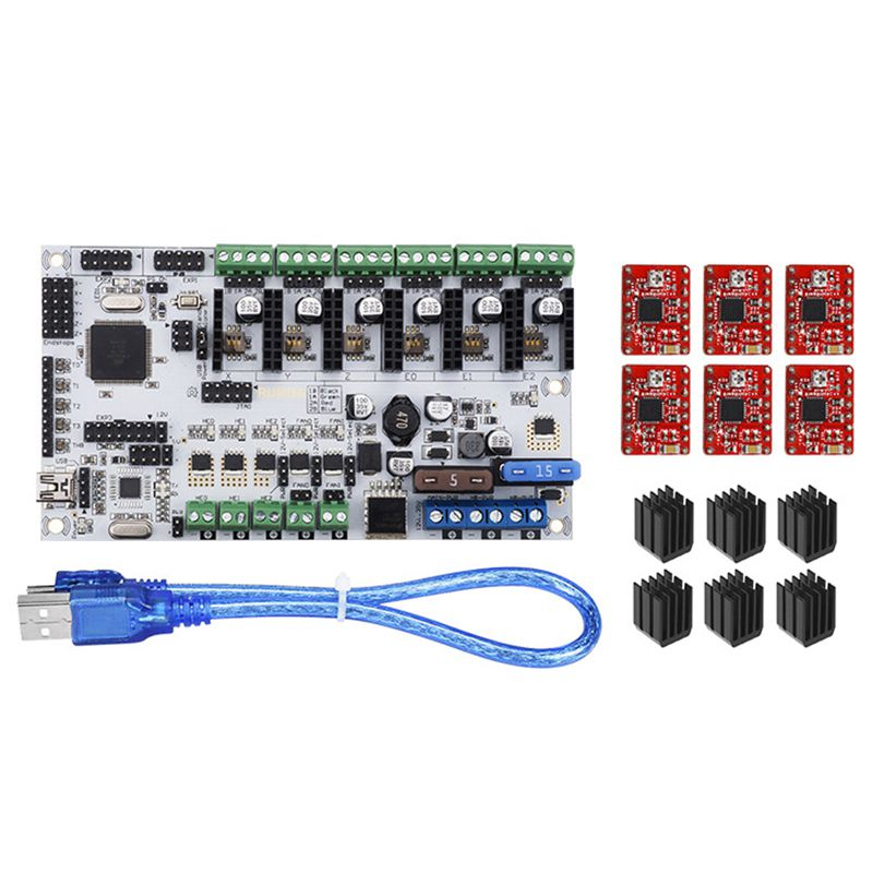 3d panneau de commande de l'imprimante kits Rumba + 6 X A4988 stepper pilote + 3 XHeatsink + USB câble