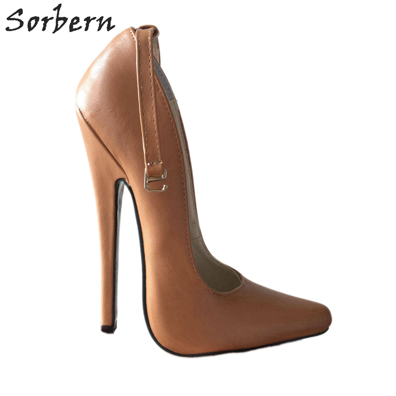 Sorbern Light Brown Ankle Strap Women Pumps Super <font><b>High</b></font> <font><b>Heels</b></font> <font><b>18Cm</b></font> <font><b>Sexy</b></font> <font><b>Heels</b></font> Shoes Woman <font><b>High</b></font> <font><b>Heel</b></font> Designer <font><b>Heels</b></font> Pump Shoes image