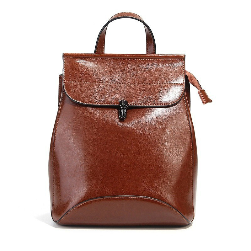 Vintage Wax Oil Genuine Leather  Woman Travel Feminine Fashion Backpack Female For Girls School Women Bagpack