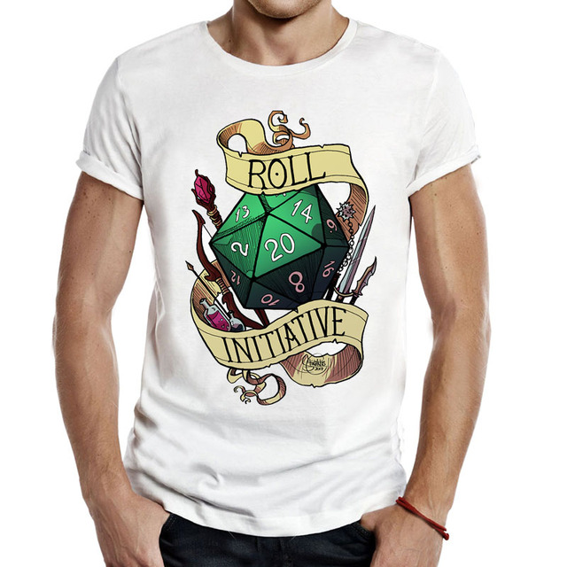 8b1010ac New Arrived Men T Shirt Roll Initiative Video Gaming Tee Dnd Dungeons and  Dragons Critical Role