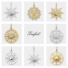 CZ Pave Sun Charm Pendants,2019 Brand New Fashion Jewelry 925 Sterling Silver Trendy Gift
